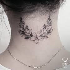 24 Breathtaking Flower Tattoos By Zihwa Tattoo тату на затылке