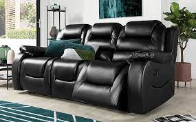 vancouver black leather 3 seater