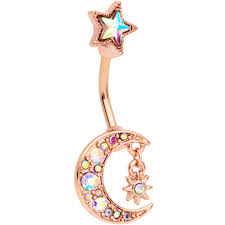 Aurora Gem Rose Gold Tone Moon And Star Double Mount Belly Ring