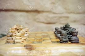 Old Wooden Board Games Old Wooden Chess Pieces On A Tree Trunk Board Just About To Start 92