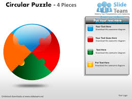 Circular Puzzle Pie Chart 4 Pieces Power Point Slides And