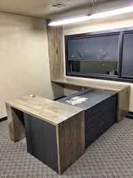 Custom Steel and Reclaimed Wood Flooring Office Desk