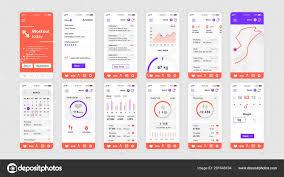 Ux Flat Design Set Of Ui Ux Gui Screens Fitness App Flat Design Template