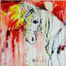 horse series original oil on canvas abstract painting 2018 by anjum saeed