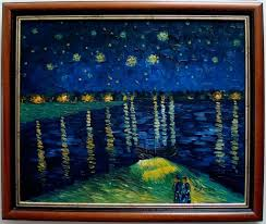 oil painting hand painting reion starry night over the rhone of van gogh