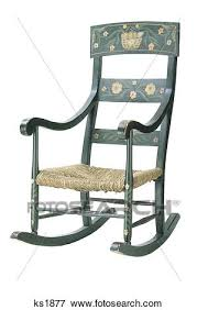 wooden rocking chair. Old Fashioned Wooden Rocking Chair With Thatched Seat Painted Flowers