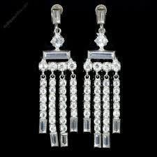 art deco paste silver chandelier earrings