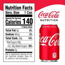 Coca Cola Nutrition Chart Coca Cola Soda Soft Drink 12 Fl Oz 12 Pack Walmart Com