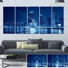 >shop designart blue chicago skyline night cityscape photo large  designart x27 blue chicago skyline night x27 cityscape photo large canvas
