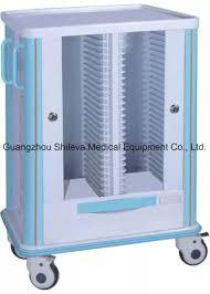 Double Row Design Hospital Trolley Medical Storage Cart Slv 021