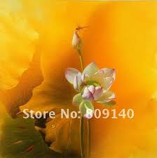 feng shui paintings for office. Free Shipping Oil Painting Realist Flower Feng Shui Golden Light Lotus Quality Handmade Home Decoration Office Wall Art Decor Paintings For I