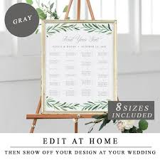 Standard Seating Chart Size Alphabet Table Plan In Grey Wedding Seating Chart Printable Seat Plan Greenery Guest Seating Diy Sign Print And Instant Download