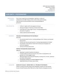Classy Photography Resume Objective With Photographer Resume