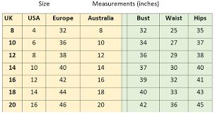 Uk Size Chart Size Chart Zoe Vine