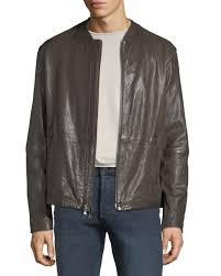 john varvatos star usa men s irregular triple needle stitch leather racer jacket