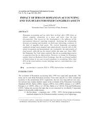 Pdf Impact Of Ifrs On Romanian Accounting And Tax Rules For
