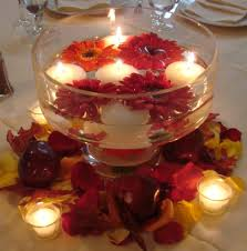 round glass bowl for wedding centerpiece filled with red unique wedding centerpieces with flowers and floating candles