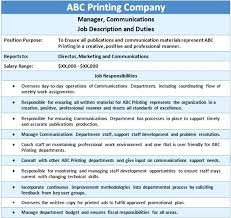 Job Profile Of Document Controller Coo Job Description Template Deputy Chief Operating Officer