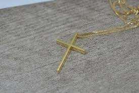gold cross necklace solid 18k gold mens