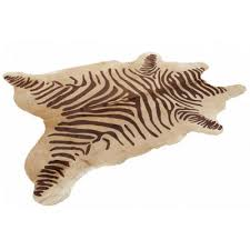 brown and cream zebra print cowhide rug