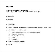 Email Meeting Agenda Template General Format – Bbfinancials.info