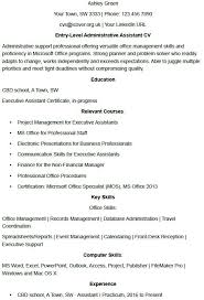 Administrative Professional Certificate Entry Level Administrator Cv Example Icover Org Uk