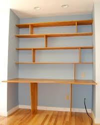 Built In Wall Shelves One Leg Two Leg Desk And Shelves Desks Shelves And Blue Walls