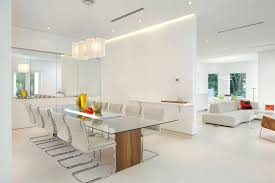 40 Minimalist Dining Rooms With White Dining Chairs Home Design Lover Mesmerizing Kitchen And Dining Room Lighting Ideas Minimalist