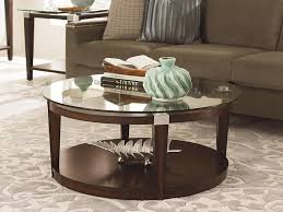 image of modern round coffee table glass top