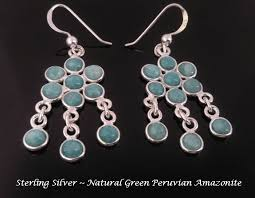 chandelier earrings sterling silver green peruvian ite larger image