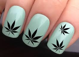 nail decals 617 black cannabis leaf hash marijuana leaves pot