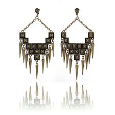 accessories statement spike chandelier clip on earrings antique gold