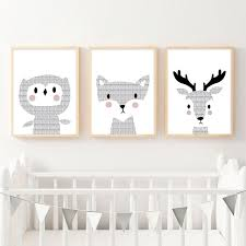 >woodland animal baby owl deer canvas poster nordic nursery wall art  woodland animal baby owl deer canvas poster nordic nursery wall art print painting picture kid bedroom