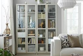 The IKEA BILLY bookshelves come in beige and other colors, and have  adjustable shelves that