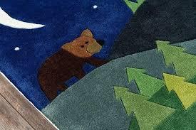 woodland animal nursery rug mo whimsy camping blue area 2