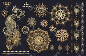 マンダラ セットおよび他の要素ベクトルマンダラのタトゥー