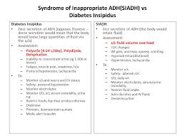 Siadh Vs Diabetes Insipidus Chart Developed By Dare Domico Rn Dsn Revised By Jill Ray Ppt
