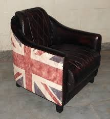antique union jack leather chair