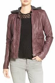 image of hinge hooded leather jacket