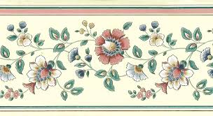 Flower Wall Paper Border Rose Green Vintage Floral Wall Border Paisley Aw3071