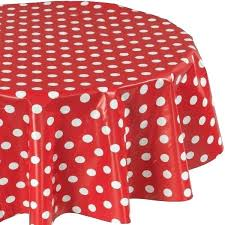 red polka dot tablecloth vinyl polyester inch indoor outdoor fabric and white round
