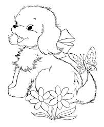 Small Picture Cute Baby Puppies And Butterfly Coloring Page Riscos 1