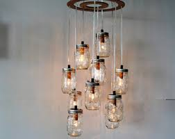 mason jar lighting fixtures. mason jar chandelier rustic hanging pendant lighting fixture 11 clear jars cluster modern fixtures