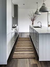 kitchen rugs taupe brown and cream textured runner domainehome via atticmag