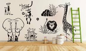 free shipping diy vinyl sticker jungle animal zoo living wall stickers kids home decal removable wall art decor in wall stickers from home garden on  on jungle animal wall art with free shipping diy vinyl sticker jungle animal zoo living wall