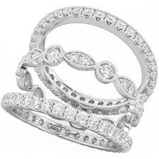 925 Sterling Silver Unique 3 Piece Eternity Wedding Ring Set