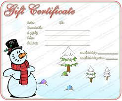 christmas certificates templates snowman christmas gift certificate template png