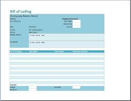 excel bill bill of lading template word excel templates