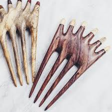 two chanang hair forks in rosewood and tamarind