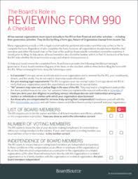 Form 990 Checklist Boardsource